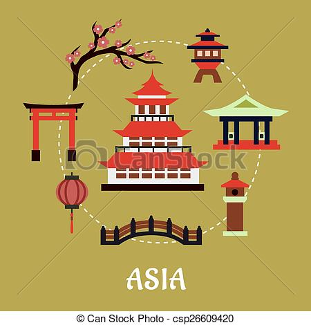 Pagoda clipart torii gate And Japan flat infographic architectural