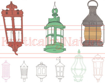 Lantern clipart nautical On burlap iron tote image