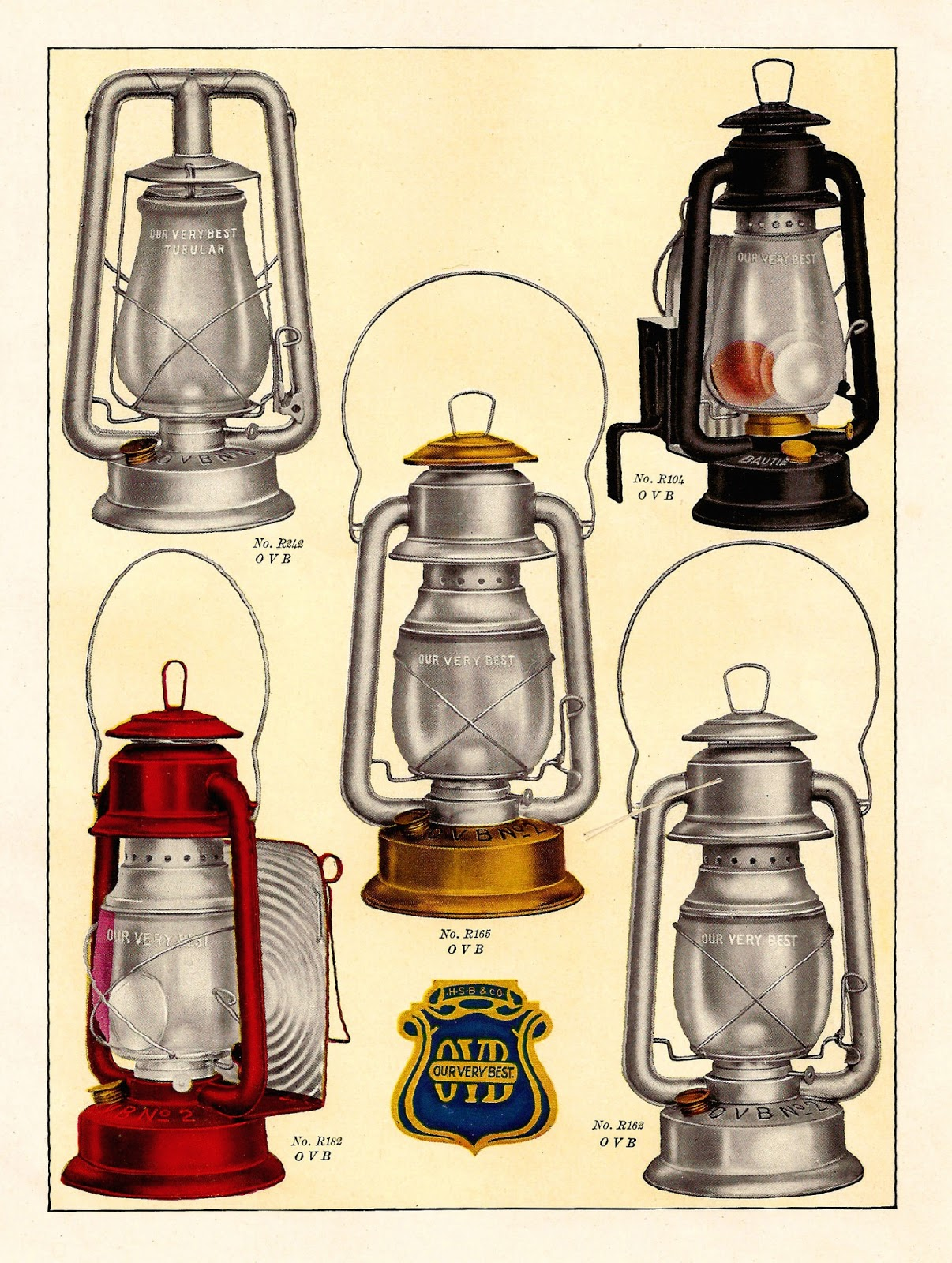 Latern clipart old fashioned Vintage camping color and a