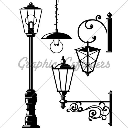 Latern clipart old fashioned (Street Fashioned Lanterns Silhouettes ·