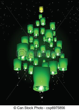 Lantern clipart tree Sky Clip Vector A Christmas