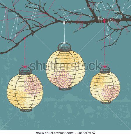 Lantern clipart tree Three tree stock website lanterns