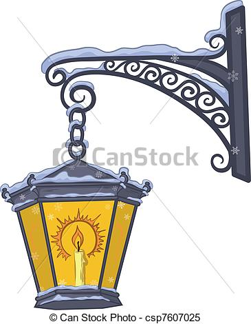 Streetlight clipart vintage lamp Lantern street glowing of Vector