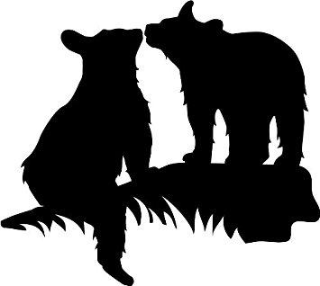 Larger clipart bear cub Facing Wall Shown (Black
