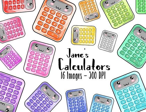 Larger clipart calculator Creative Kawaii Illustrations Kawaii Clipart