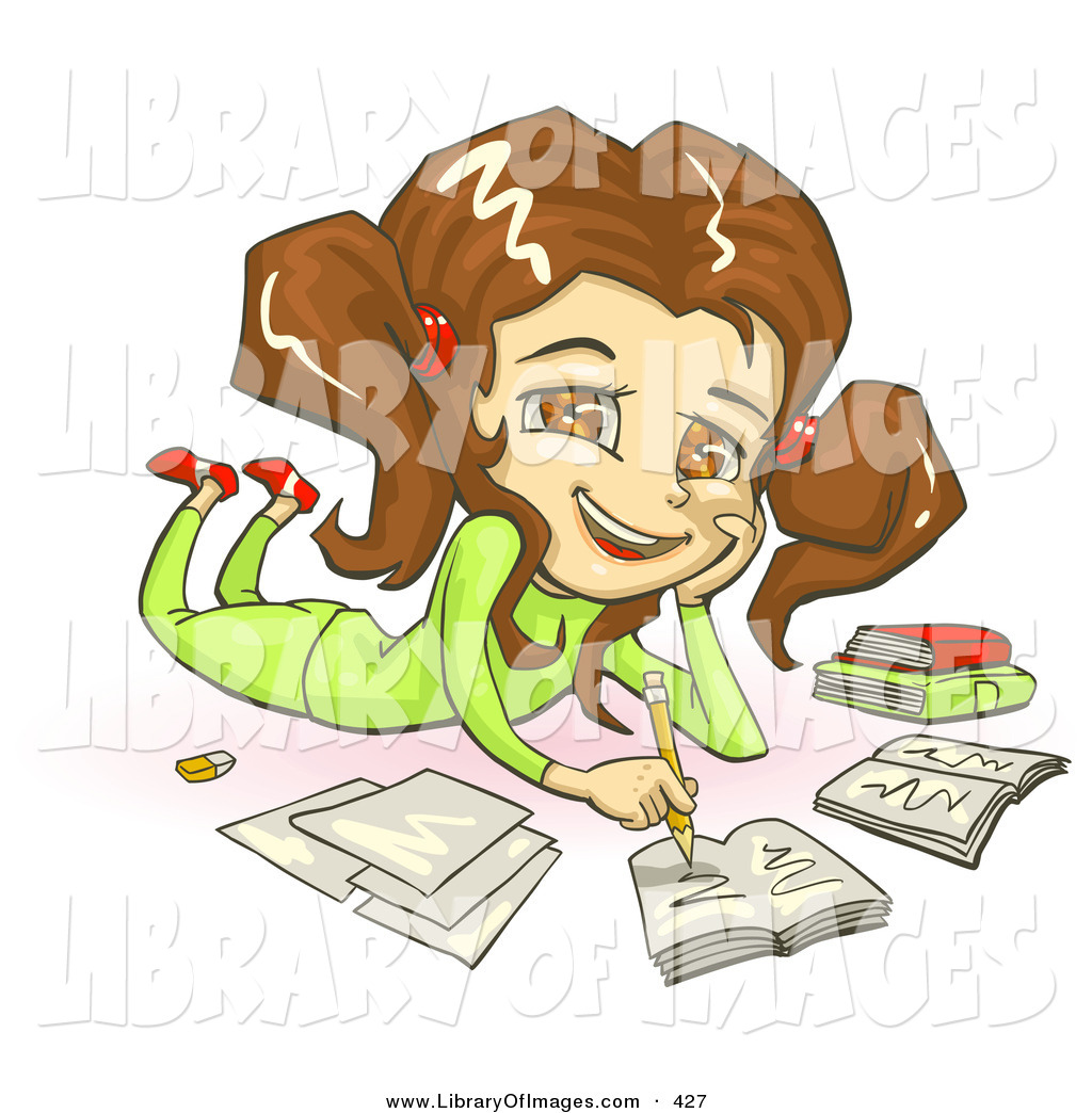 Larger clipart homework Belly Clothes Smiling and Brunette