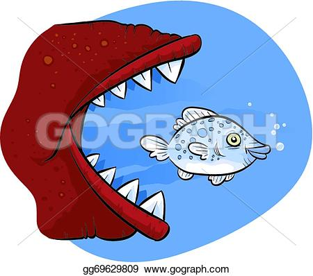Larger clipart large fish Little Eating Fish Stock Clipart