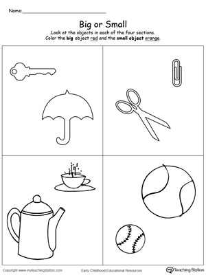 Larger clipart object Big worksheets Small : your