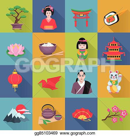 Latern clipart japan culture Illustration Art icons set abstract