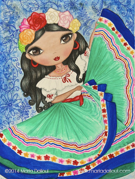 Spanish clipart mexican lady Girls girl room Print decor