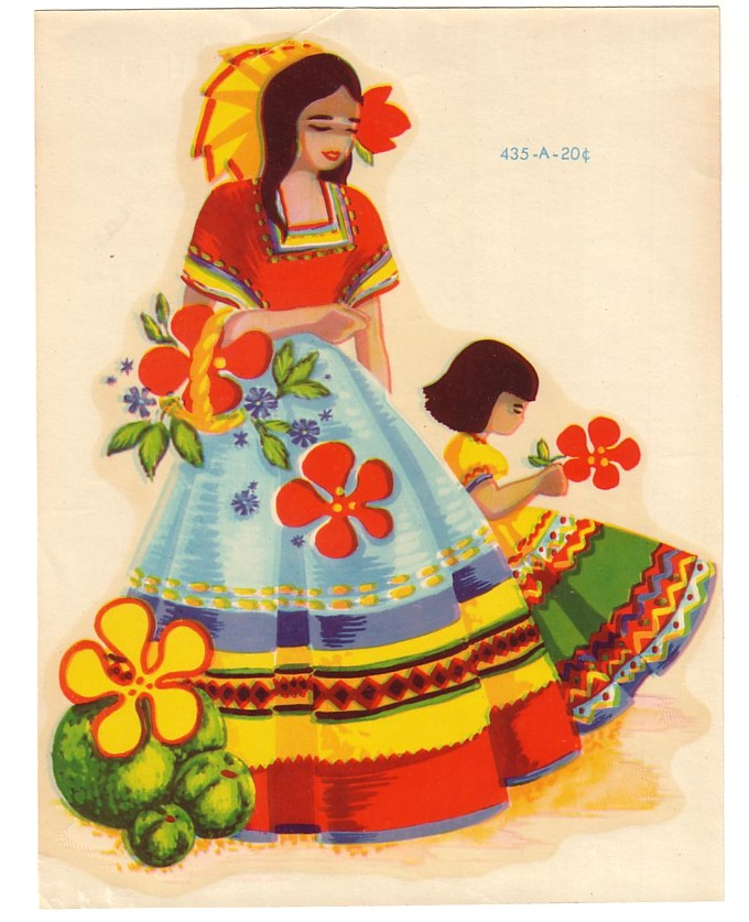 Latin clipart mexican lady Decal Vintage Meyercord Meyercord Child