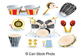 Latin clipart percussion instrument Band Vector Instrument set EPS