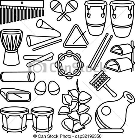 Latin clipart percussion instrument  of of Percussion Vector
