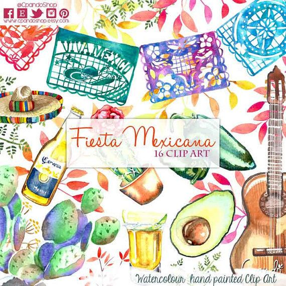 Spanish clipart mexican party  Clipart Digital clipart Mexican
