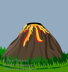 Volcano clipart blue Lava A of Erupting Erupting