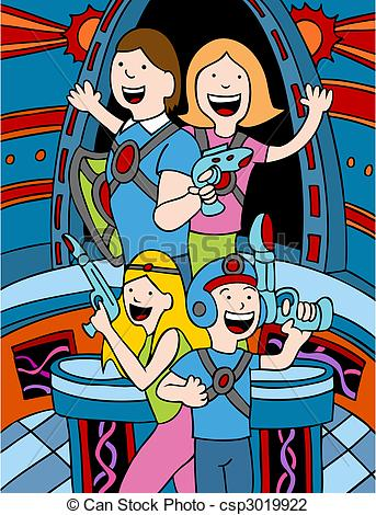 Lazer clipart cartoon Of Family of Laser Tag