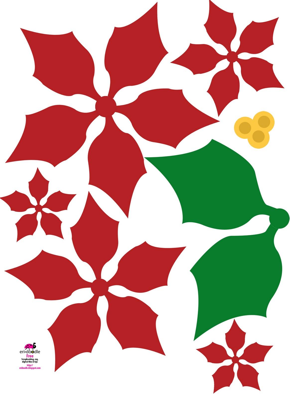 Poinsettia clipart printable Designs Christmas Flower doodle a