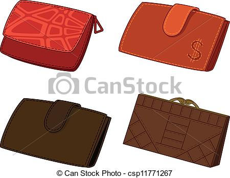 Leather clipart wallet Set wallets Vector Leather set