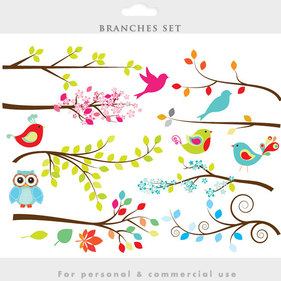 Bird clipart whimsy Twigs art clipart cute decorative