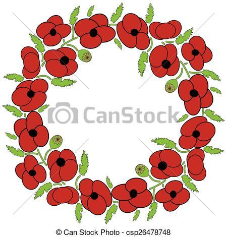 Red Flower clipart wreath #3