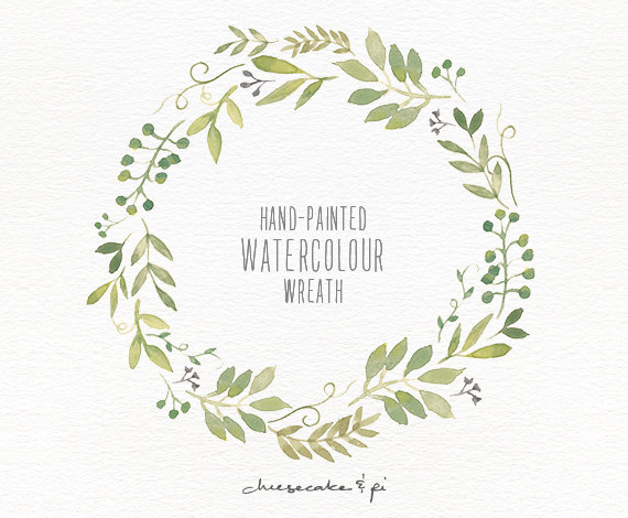 Wreath clipart watercolor PNG and 1 Invitation Clip
