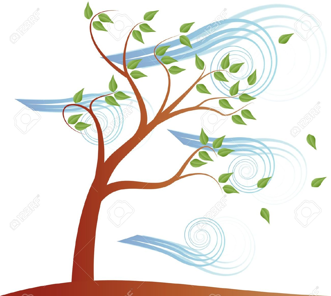 Tree clipart wind blowing #6
