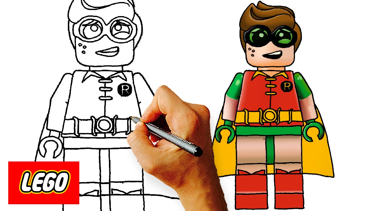 Drawn robin character To Kids Draw Lego Step