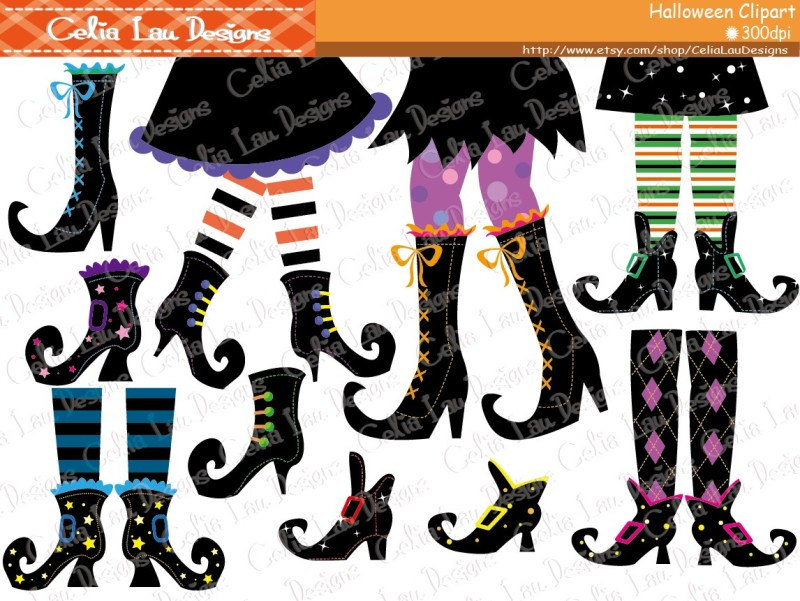 Boots clipart witch Clip Witch Clipart Etsy Halloween