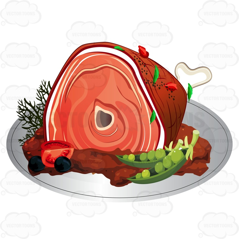 Plate clipart large Cartoon Plate Ham Clipart On
