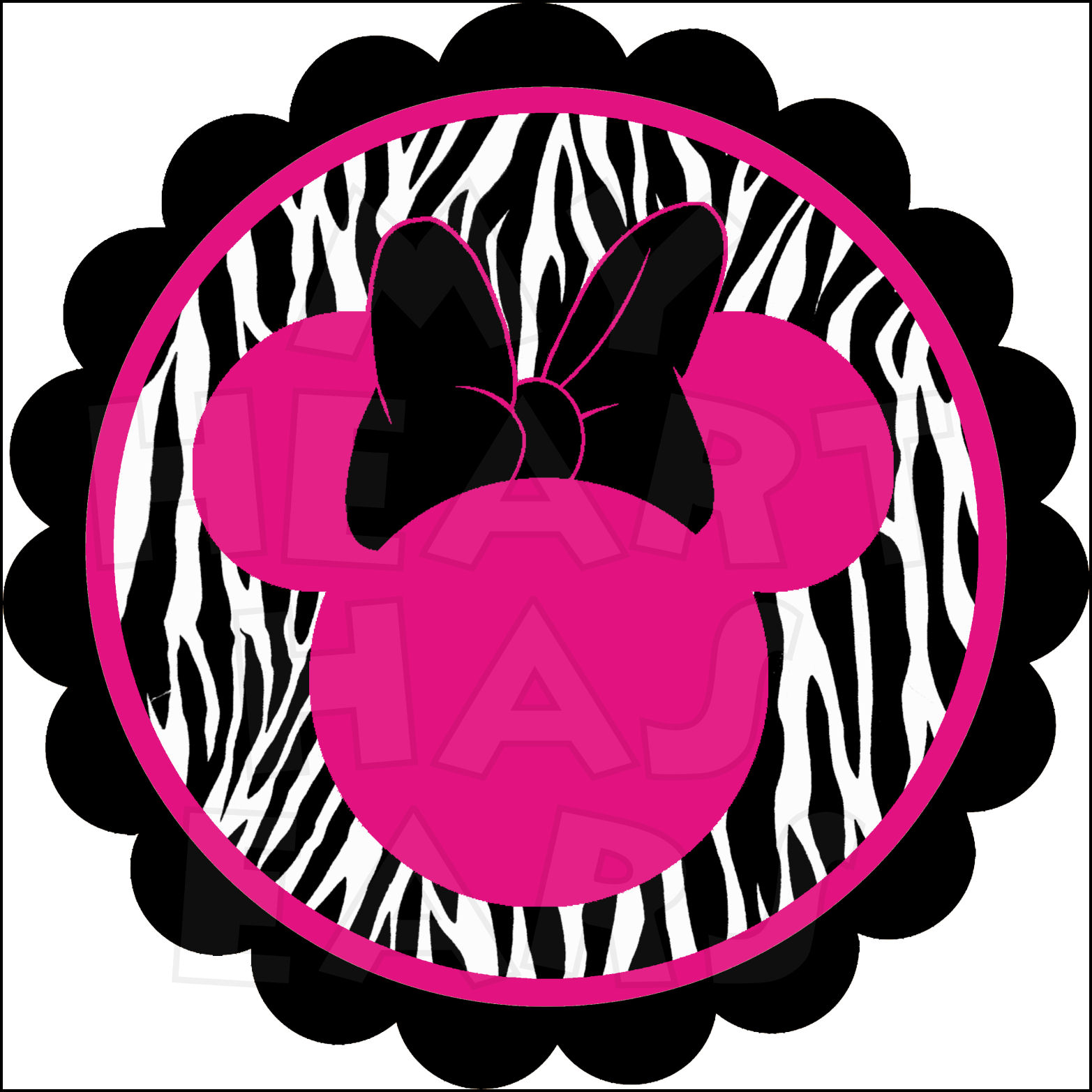 Zebra clipart number 1 INSTANT Minnie Page DOWNLOAD Ears
