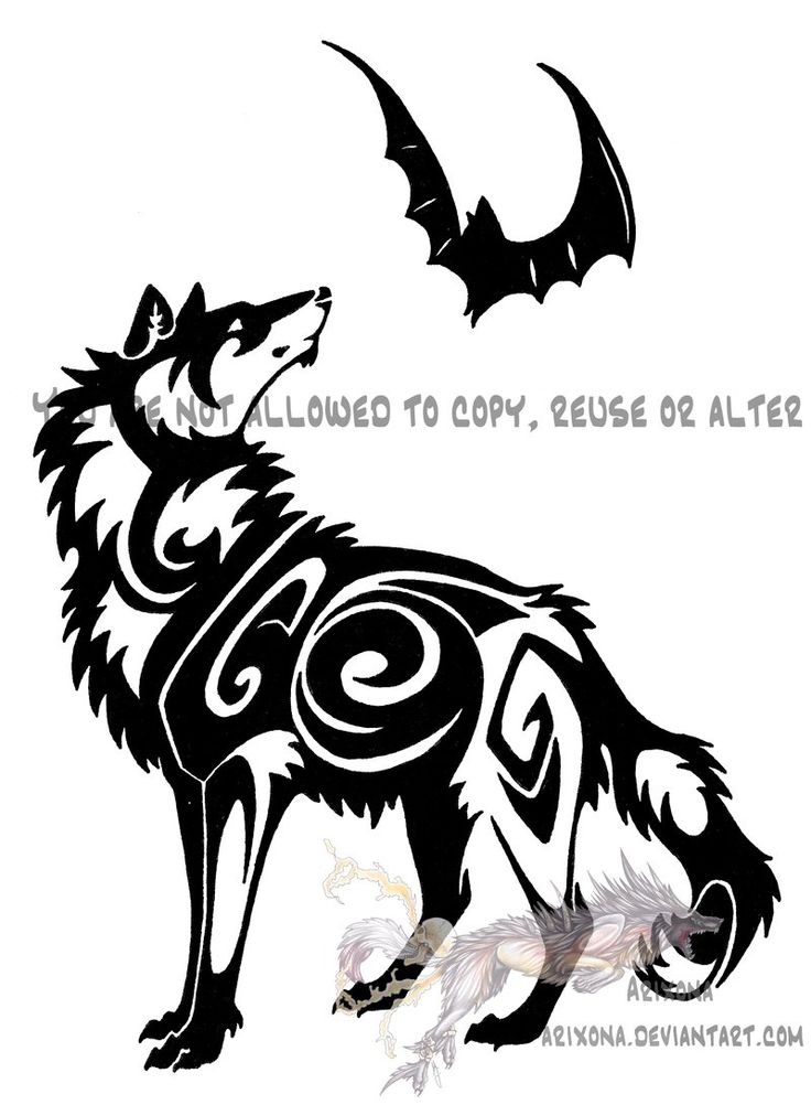 Legz clipart wolf Wolf_and_bat_tribal_by_arixona images 17 about jpg