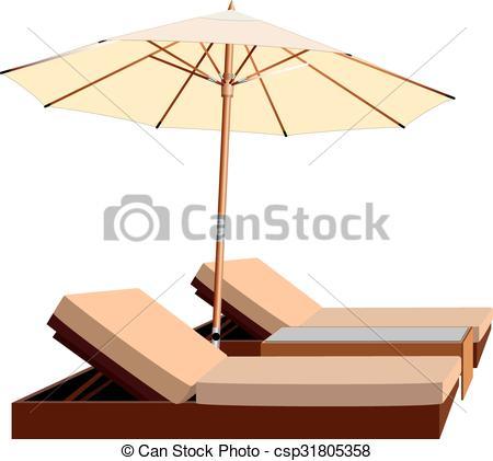 Leisure clipart beach umbrella  lounger leisure of Vector