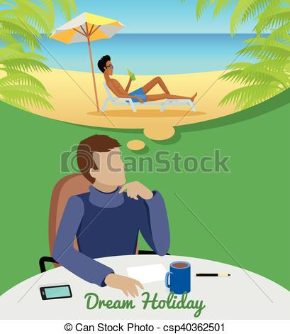 Leisure clipart dream vacation Man Vacation of Clipart Vector