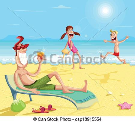 Beach clipart family beach vacation During family Happy Vector beach