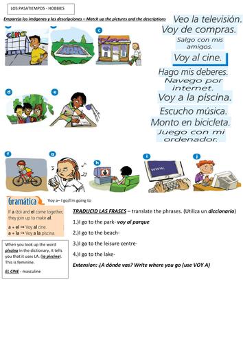 Leisure clipart pasatiempos HOBBIES SPANISH WORKSHEET Pasatiempos Teaching