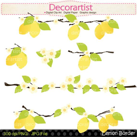 Yellow Flower clipart summer border  Fruit border download border
