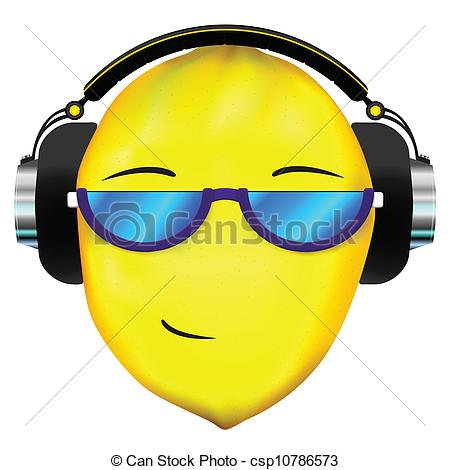 Lemon clipart face Headphones Lemon in lemon Vectors