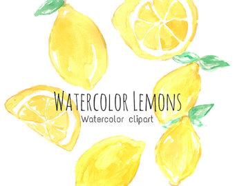Lemon clipart painted Clip Watercolor Art Set Art