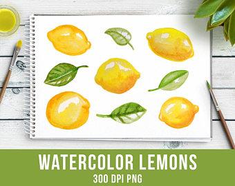 Lemon clipart painted Yellow Watercolor Green Art Studio