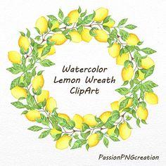 Lemon clipart painted Etsy digitali art PNG Hand