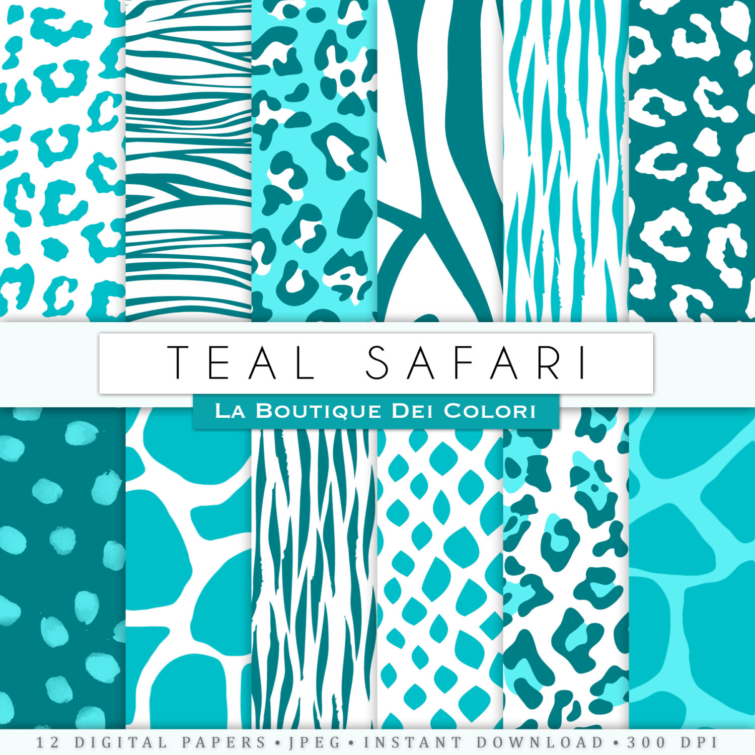Leopard Skin clipart turquoise #2