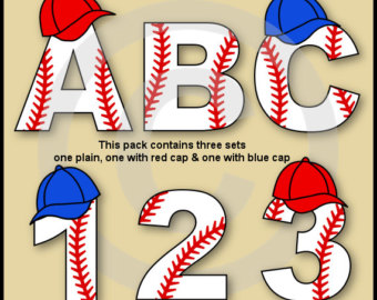Letter clipart baseball Letters Alphabet Baseball Numbers Etsy