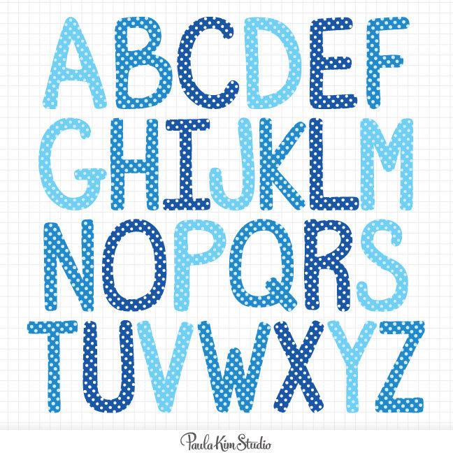 Letter clipart blue Digital Polka Art file Clip