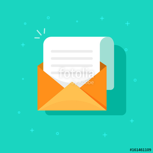 Letter clipart correspondence Flat correspondence e with envelope