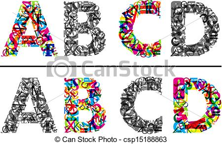 Letter clipart graphic A and monochrome Art c
