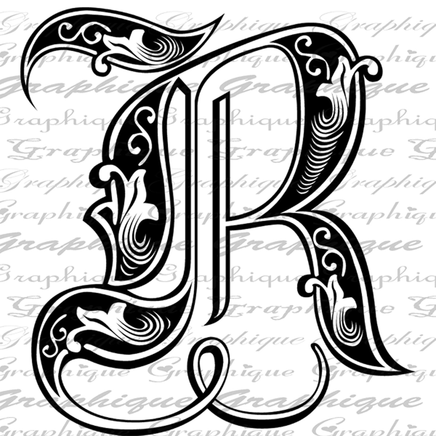 Old Letter clipart hand Letters R  ENGRAVING Style