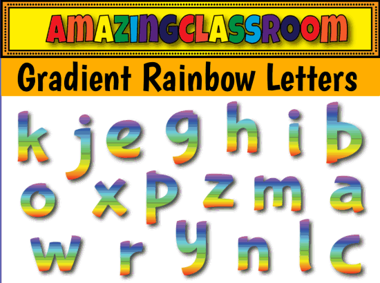 Letter clipart rainbow Interactive Packs Gradient Rainbow