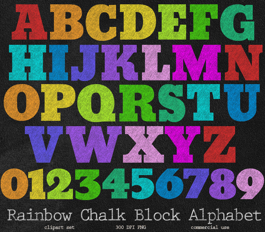 Letter clipart rainbow Set Letters School PNG Rainbow