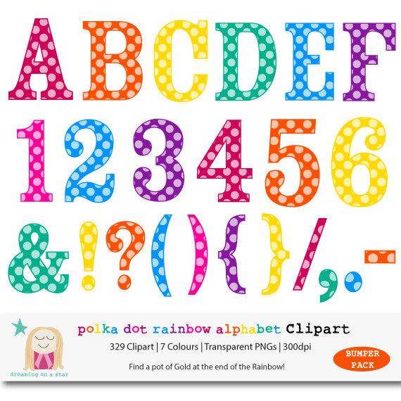 Letter clipart rainbow CommUse Clipart Polka Letter Number