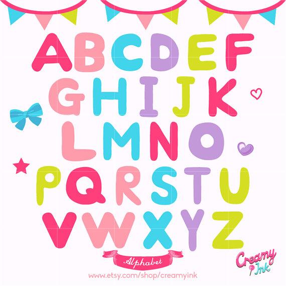 Lettering clipart scrapbook Vector art Vector Alphabet Alphabet